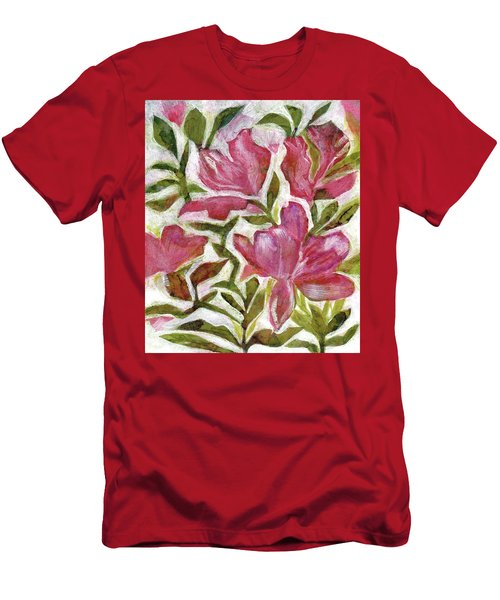 Men's T-Shirt (Slim Fit) featuring the painting Pink Azaleas by Julie Maas