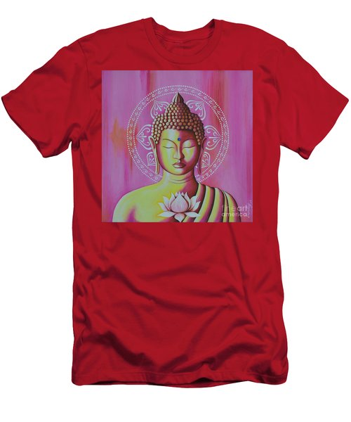Men's T-Shirt (Slim Fit) featuring the painting Pink Buddha by Joseph Sonday
