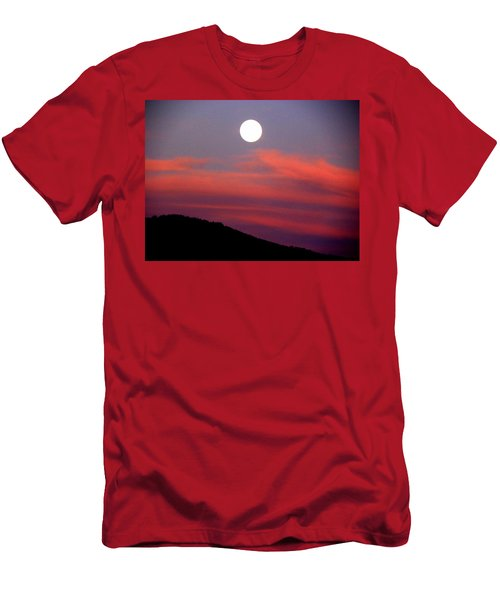Men's T-Shirt (Slim Fit) featuring the photograph Pink Clouds With Moon by Joseph Frank Baraba