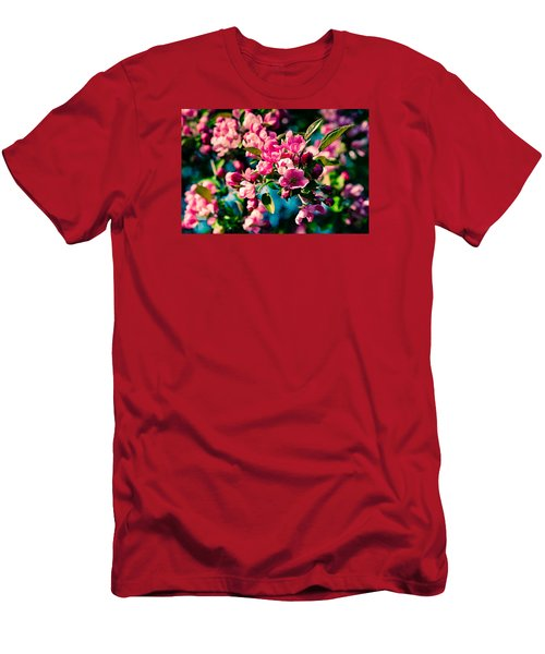 Men's T-Shirt (Slim Fit) featuring the photograph Pink Crab Apple Flowers by Alexander Senin