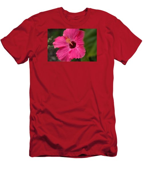 Pink Hibiscus Men's T-Shirt (Slim Fit) by Dorothy Cunningham