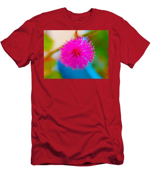 Pink Puff Flower Men's T-Shirt (Slim Fit) by Samantha Thome