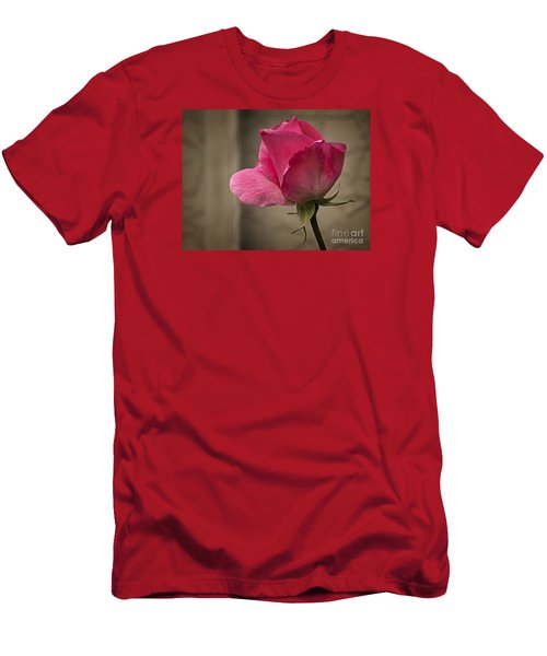Men's T-Shirt (Slim Fit) featuring the photograph Pink Rose by Inge Riis McDonald
