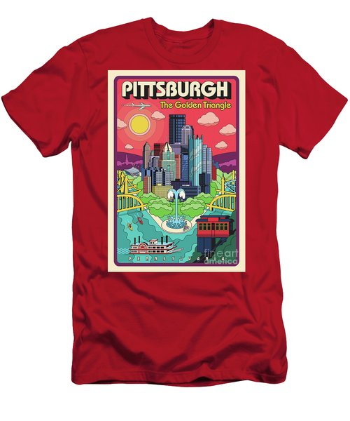 Pittsburgh Pop Art Travel Poster Men's T-Shirt (Athletic Fit)