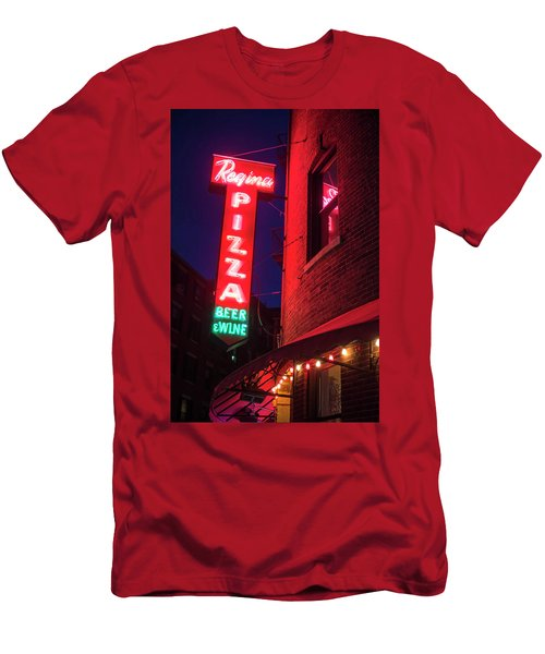 Pizzeria Regina Boston Ma North End Thacher Street Neon Sign Men's T-Shirt (Athletic Fit)