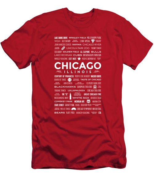 Places Of Chicago On Red Chalkboard Men's T-Shirt (Slim Fit) by Christopher Arndt