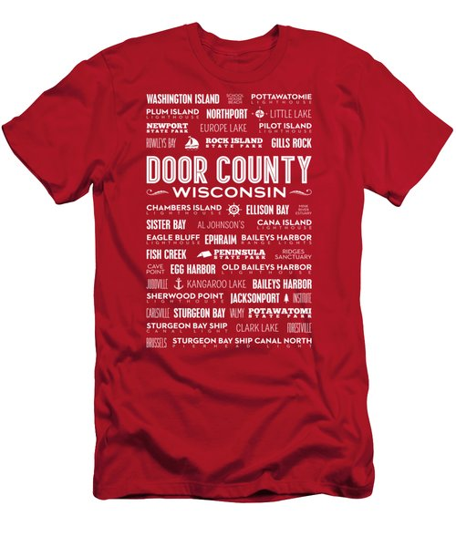 Places Of Door County On Red Men's T-Shirt (Slim Fit) by Christopher Arndt
