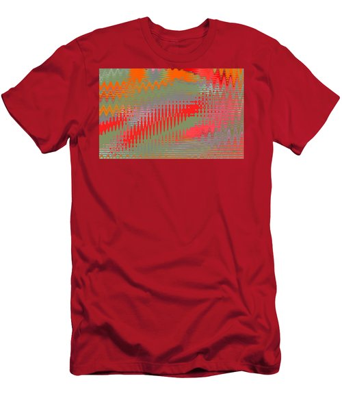 Men's T-Shirt (Slim Fit) featuring the digital art Pond Abstract - Summer Colors by Ben and Raisa Gertsberg