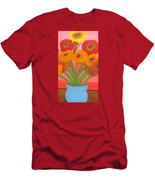 Men's T-Shirt (Slim Fit) featuring the painting Poppies 1 by Don Koester