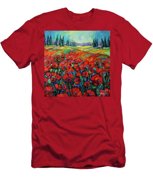 Poppies And Cypresses - Modern Impressionist Palette Knives Oil Painting Men's T-Shirt (Athletic Fit)