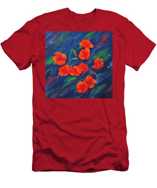 Men's T-Shirt (Slim Fit) featuring the painting Poppies In Abstract by Roseann Gilmore