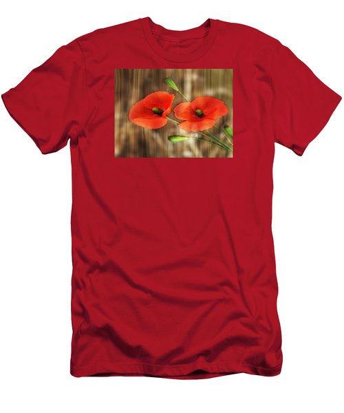 Poppies On Barnwood Men's T-Shirt (Athletic Fit)