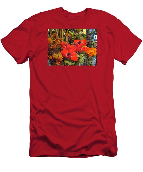 Men's T-Shirt (Slim Fit) featuring the photograph Poppiest by Cathy Dee Janes