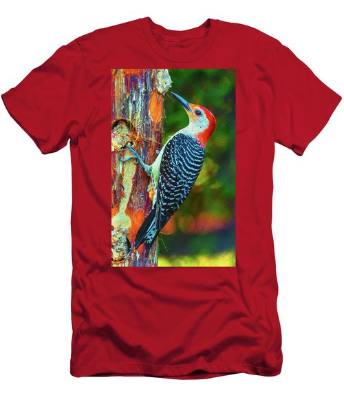 Popping Color Woodpecker Men's T-Shirt (Athletic Fit)