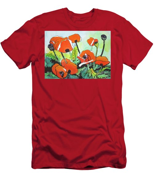 Poppy Floral And Green Men's T-Shirt (Athletic Fit)