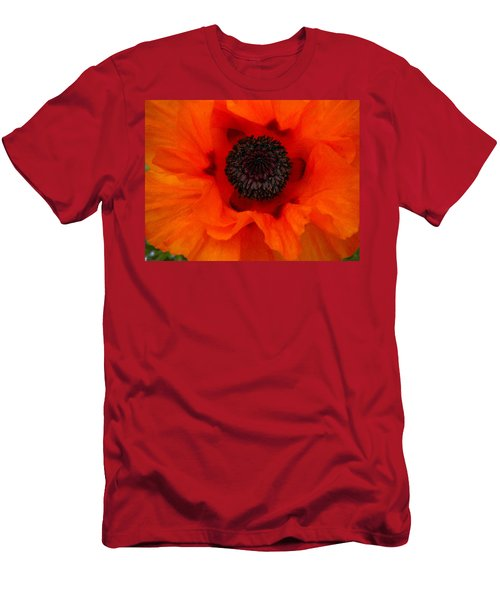 Men's T-Shirt (Slim Fit) featuring the painting Poppy by Renate Nadi Wesley