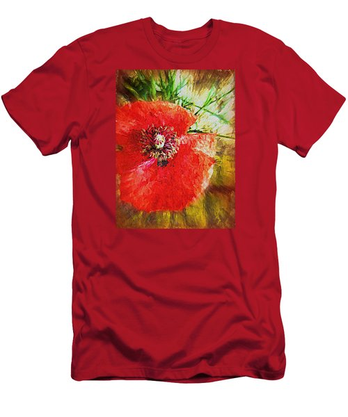 Men's T-Shirt (Slim Fit) featuring the photograph Poppy Variation Too by Kathy Bassett
