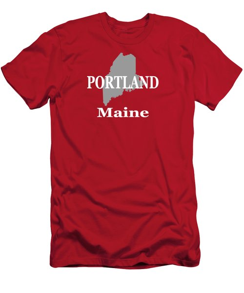 Men's T-Shirt (Slim Fit) featuring the photograph Portland Maine State City And Town Pride  by Keith Webber Jr