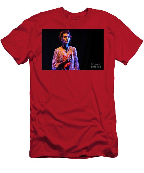 Men's T-Shirt (Athletic Fit) featuring the photograph Portrait Of Ballet Dancer In Pose On Stage by Dimitar Hristov