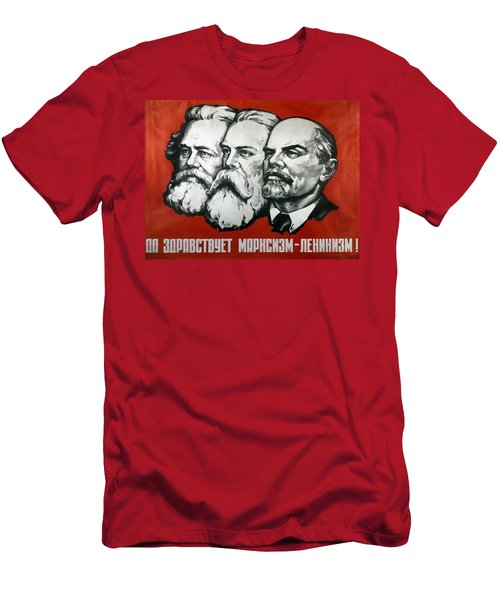 Poster Depicting Karl Marx Friedrich Engels And Lenin Men's T-Shirt (Athletic Fit)