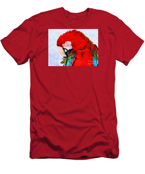Men's T-Shirt (Slim Fit) featuring the photograph Preening Macaw by Debbie Stahre