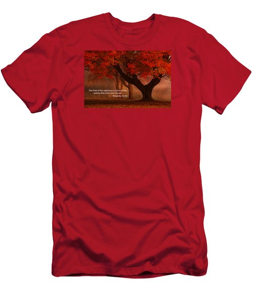 Men's T-Shirt (Slim Fit) featuring the photograph Proverbs 11 30 Scripture And Picture by Ken Smith