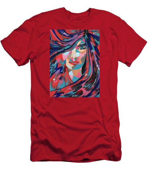Men's T-Shirt (Slim Fit) featuring the painting Psychedelic Jane by Kathleen Sartoris