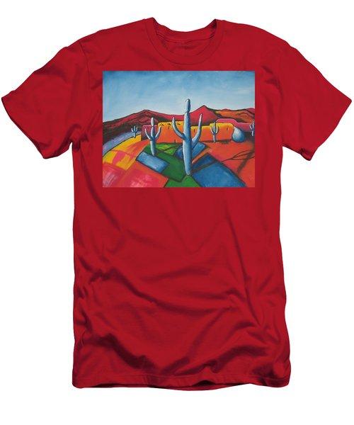 Men's T-Shirt (Slim Fit) featuring the painting Pueblo by Antonio Romero