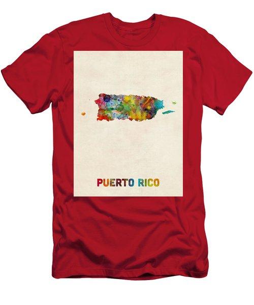 Puerto Rico Watercolor Map Men's T-Shirt (Athletic Fit)
