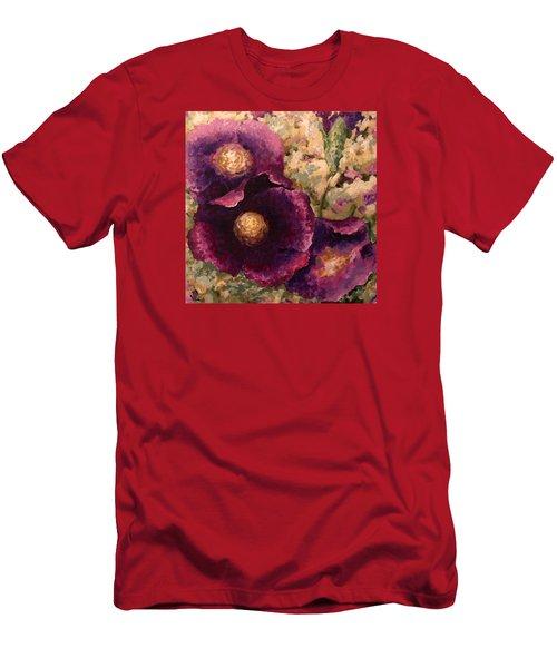 Purple Trio-flowers Men's T-Shirt (Slim Fit) by Vali Irina Ciobanu