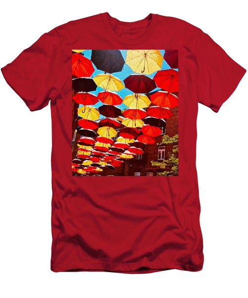 Men's T-Shirt (Athletic Fit) featuring the painting Raining Umbrellas by Joan Reese