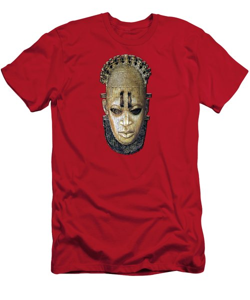 Queen Mother Idia - Ivory Hip Pendant Mask - Nigeria - Edo Peoples - Court Of Benin On Red Leather Men's T-Shirt (Athletic Fit)