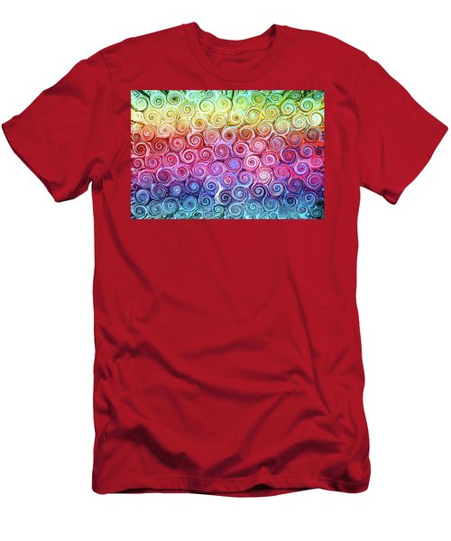 Rainbow Abstract Swirls Men's T-Shirt (Athletic Fit)