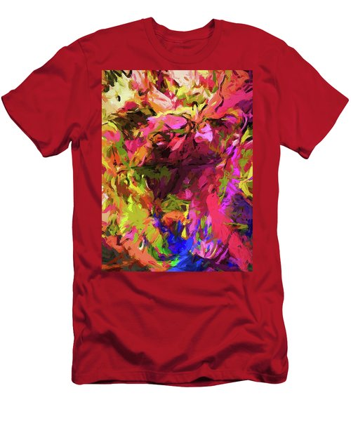 Rainbow Flower Rhapsody Pink Cobalt Blue Men's T-Shirt (Athletic Fit)