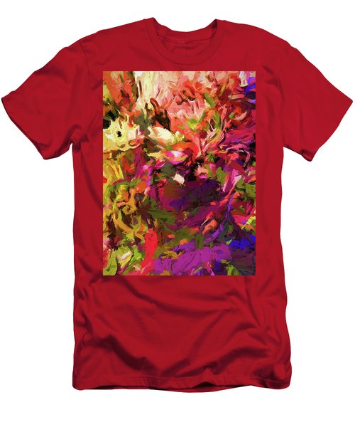 Rainbow Flower Rhapsody Purple Green Men's T-Shirt (Athletic Fit)