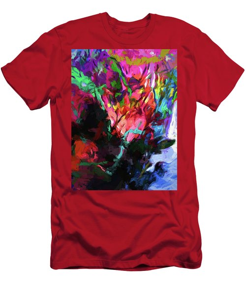 Rainbow Flower Rhapsody Red Turquoise Blue Men's T-Shirt (Athletic Fit)