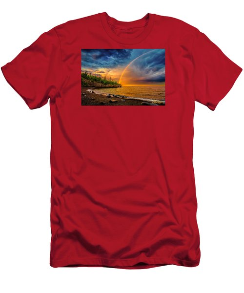 Rainbow Point Men's T-Shirt (Slim Fit) by Rikk Flohr