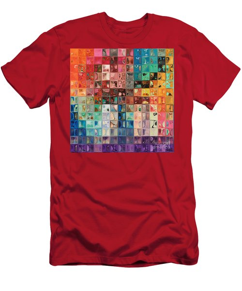 Rainbow Refractions. Modern Mosaic Tile Art Painting Men's T-Shirt (Slim Fit) by Mark Lawrence