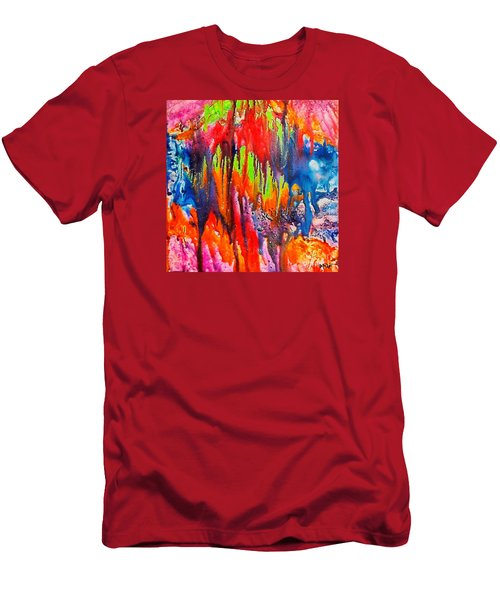 Men's T-Shirt (Slim Fit) featuring the painting Raindrops On The Window by Dragica  Micki Fortuna