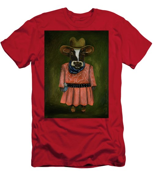 Men's T-Shirt (Slim Fit) featuring the painting Real Cowgirl by Leah Saulnier The Painting Maniac