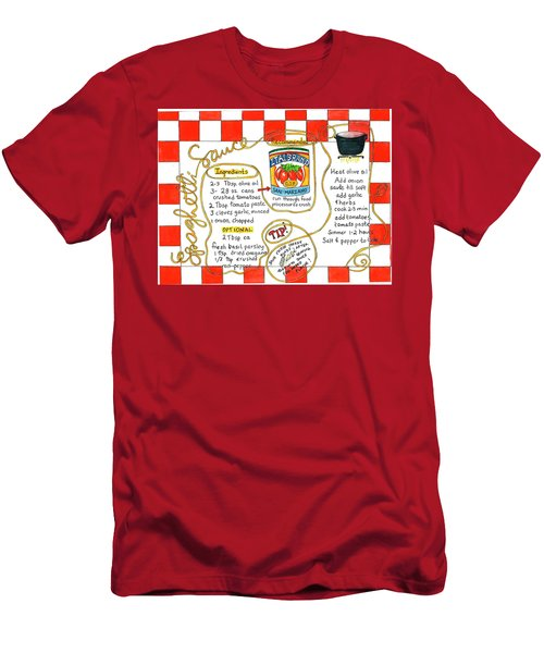 Men's T-Shirt (Athletic Fit) featuring the painting Recipe -spaghetti Sauce  by Diane Fujimoto