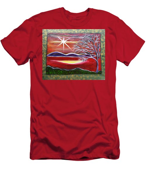 Red Abstract Landscape With Gold Embossed Sides Men's T-Shirt (Athletic Fit)