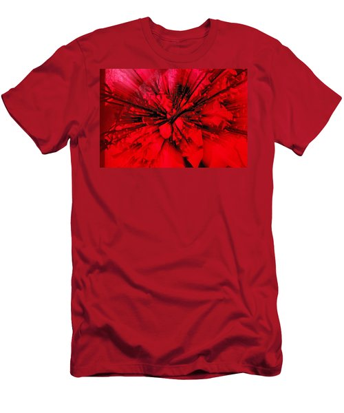 Men's T-Shirt (Slim Fit) featuring the photograph Red And Black Explosion by Susan Capuano