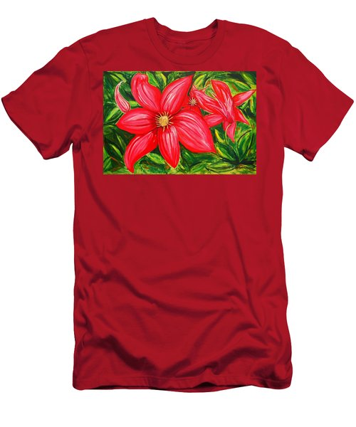 Red And Green Men's T-Shirt (Slim Fit) by J R Seymour