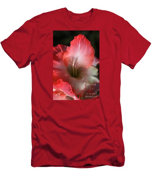 Red And White Gladiolus Flower Men's T-Shirt (Slim Fit) by Joy Watson