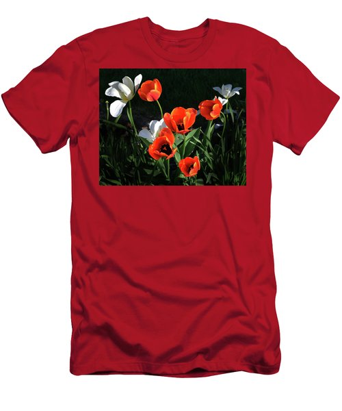Red And White Tulips Men's T-Shirt (Slim Fit) by Kathleen Stephens