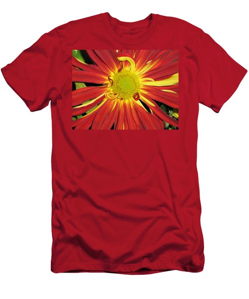 Red And Yellow Flower Men's T-Shirt (Slim Fit) by Barbara Yearty