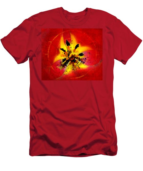 Red And Yellow Flower Men's T-Shirt (Slim Fit) by Judi Saunders
