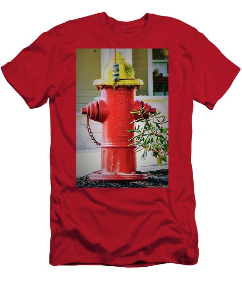 Red And Yellow Hydrant Men's T-Shirt (Athletic Fit)