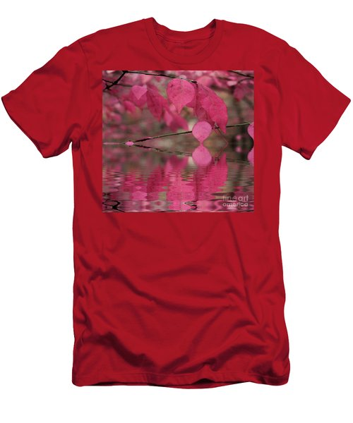 Red Autumn Leaf Reflections Men's T-Shirt (Slim Fit) by Judy Palkimas